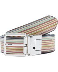 Paul Smith - Multi Stripe Reversible Cut To Fit Belt - Lyst