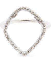Monica Vinader - Silver Riva Hoop Diamond Cocktail Ring - Lyst