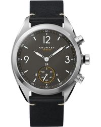Kronaby - Apex Black Leather Strap Smart Watch - Lyst