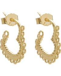 Alex Monroe - Gold-plated Small Lace-edged Heart Hoop Earrings - Lyst