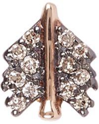 Kismet by Milka - Gold Arrow Champagne Diamond Single Stud Earring - Lyst