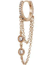 "Maria Tash 5/16"" Double Chain Diamond Eternity Hoop Earring"