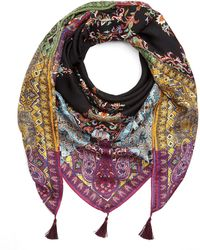 Etro - Delicate Floral Border Scarf - Lyst
