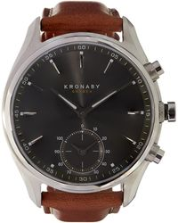 Kronaby - Sekel Stainless Steel Leather Strap Smart Watch - Lyst