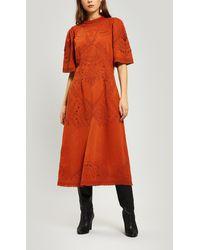 Sea Agatha Embroidered Cotton Midi-dress - Orange