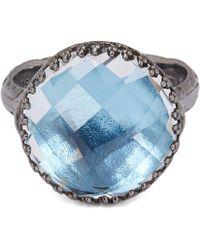 Larkspur & Hawk - Rhodium-washed Silver Olivia Button White Quartz Ring - Lyst