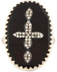 Pascale Monvoisin Rose Gold Bowie N°3 Diamond And Bakelite Cross Ring
