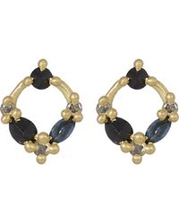 Polly Wales - Gold Midnight Sapphire Circle Stud Earrings - Lyst