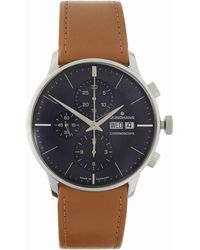 Junghans - Meister Chronoscope Chronograph Leather Strap Watch - Lyst