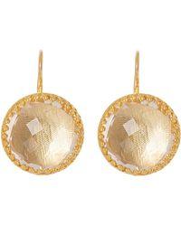 Larkspur & Hawk - Gold-washed White Quartz Olivia Button Earrings - Lyst