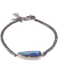 Brooke Gregson - Silver Ellipse Boulder Opal Silk Bracelet - Lyst