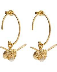 Alex Monroe - Gold-plated Flying Bee Pearl Hoop Earrings - Lyst