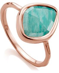 Monica Vinader - Rose Gold Vermeil Amazonite Siren Small Nugget Stacking Ring - Lyst