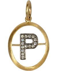 Annoushka - 18ct Gold P Diamond Initial Pendant - Lyst