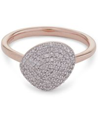 Monica Vinader - Rose Gold Vermeil Nura Pebble Diamond Stacking Ring - Lyst