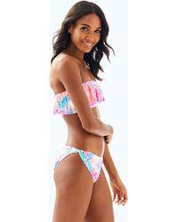 Lilly Pulitzer - Salsa Ruffled Bandeau Bikini Top - Lyst