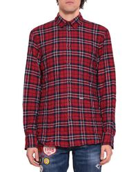 DSquared² - Checked Cotton Flannel Shirt - Lyst