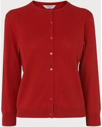 L.K.Bennett - Bibia Red Silk Cotton Cardigan - Lyst