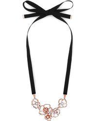 L.K.Bennett | Florrie Rose Gold Ribbon Necklace | Lyst