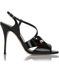 L.K.Bennett - Erica Black Patent Sandals - Lyst