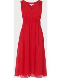 L.K.Bennett - Greca Red Silk Dress - Lyst