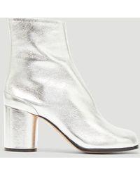 Maison Margiela - Metallic Tabi Boots In Silver - Lyst