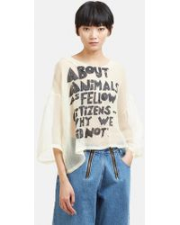 Anntian - Animal Sheer Frill Top In Off White - Lyst