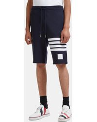 Thom Browne - 4 Bar Striped Loopback Jersey Shorts In Navy - Lyst