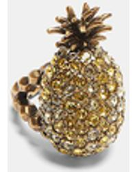 Gucci - Crystal-studded Pineapple Ring In Gold - Lyst