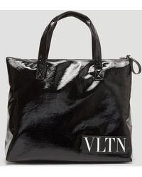 Valentino - Vinyl Vltn Tote Bag In Black - Lyst