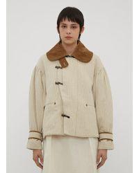 Renli Su - Striped Boxy Jacket In Beige - Lyst