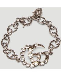 Gucci - Crystal Double G Chain Bracelet In Silver - Lyst