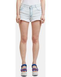 Stella McCartney - Bleached Cut-off Shorts In Blue - Lyst