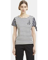 JW Anderson - Breton Striped Logo Knot T-shirt In Navy And White - Lyst