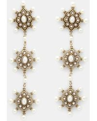 Gucci - Pearl Embellished Drop Earrings In Gold - Lyst