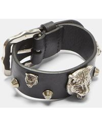 Gucci | Feline Studded Leather Buckle Bracelet In Black And Silver | Lyst