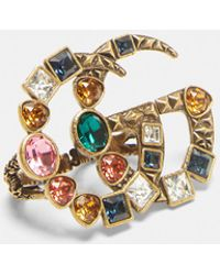 Gucci - Crystal Double G Multi-finger Ring In Multi - Lyst
