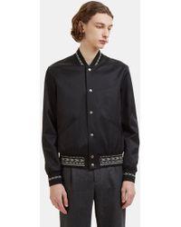 Saint Laurent - Ikat Trim Teddy Jacket In Black - Lyst