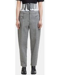 Capara - Layered Hounds Tooth Tapered Trousers 8 In Grey - Lyst