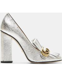 Gucci - Gg High-heel Fringed Marmont Pumps In Silver - Lyst
