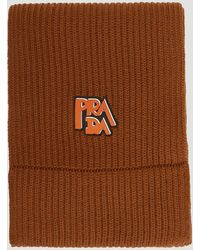 Prada - Wool Ribbed Logo Scarf In Brown - Lyst