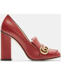 79ade36ca824 Gucci - GG High-heel Fringed Marmont Pumps In Red - Lyst