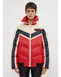 Gucci - Red Floral Stripe Down Jacket - Lyst