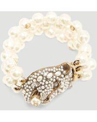 Gucci - Feline Head Bracelet In White - Lyst