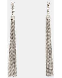 Saint Laurent - Loulou Chain Tassel Earrings In Silver - Lyst