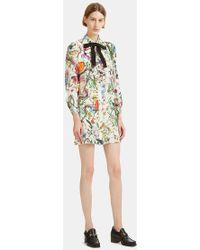 Gucci - Flora Snake Print Ruffled Shirt Dress In Ivory - Lyst