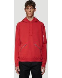 375ba8827aa Saint Laurent - Zip Pocket Hooded Sweatshirt In Red - Lyst