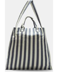 Sunnei - Large Striped Canvas Tote Bag In Blue And White - Lyst