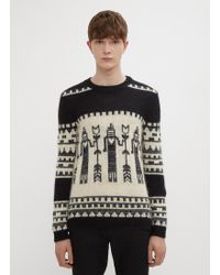 Saint Laurent - Totem Intarsia Jumper - Lyst