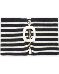 J.W.Anderson - Striped Zipped Neckband In Navy And White - Lyst
